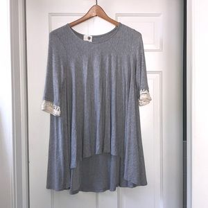 Anthropologie Everleigh Tunic Shirt w Crochet Cuff